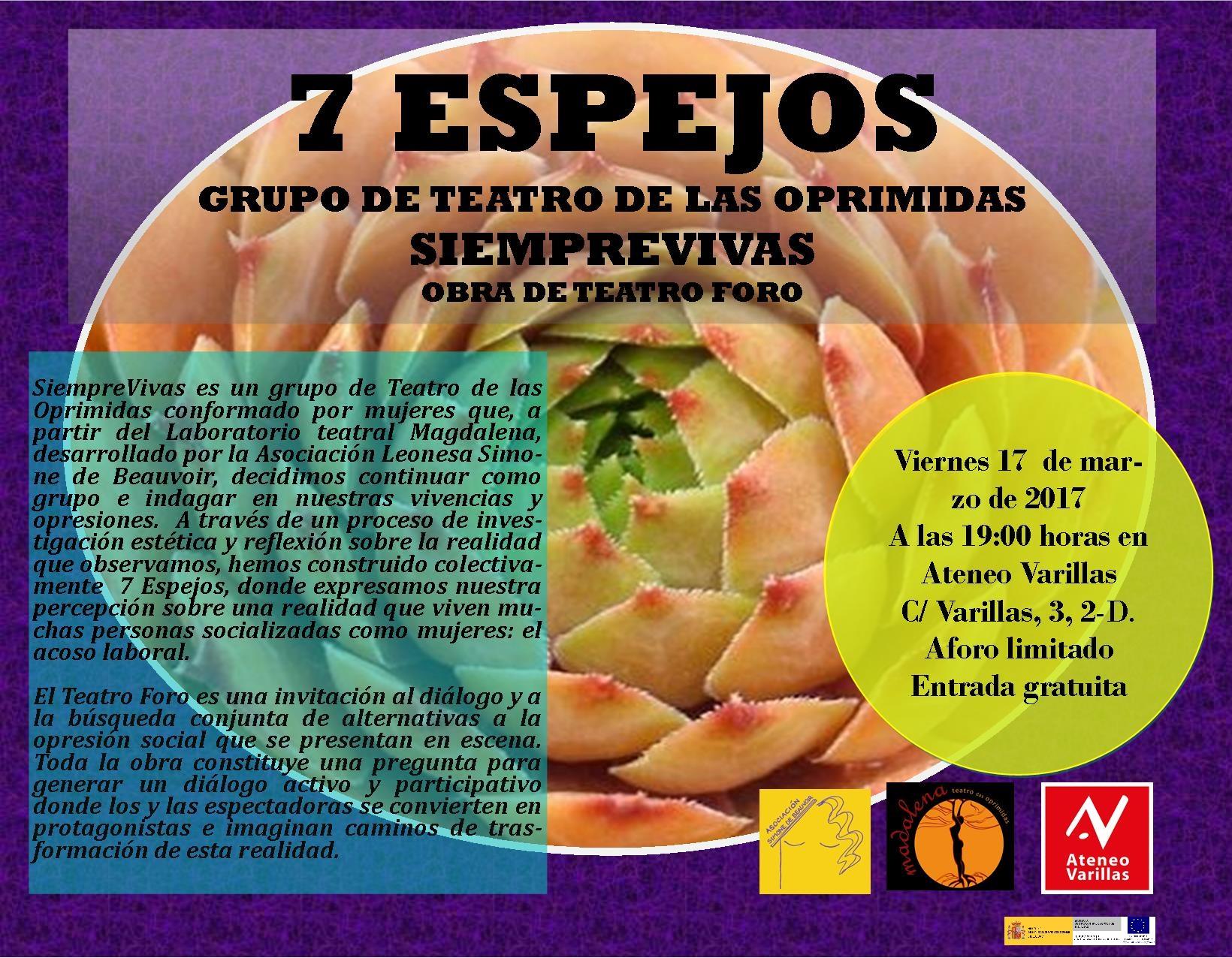 Cartel presentación 7 Espejos. SiempreVivas